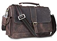 Amango Genuine Leather Messenger Bag for Men Fit 13'' Laptop Brown A9917