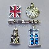 OutletBestSelling Pendants Beads Bracelet Doctor Who Wholesale Tardis Dalek Union Jack Charms Mix 5pcs