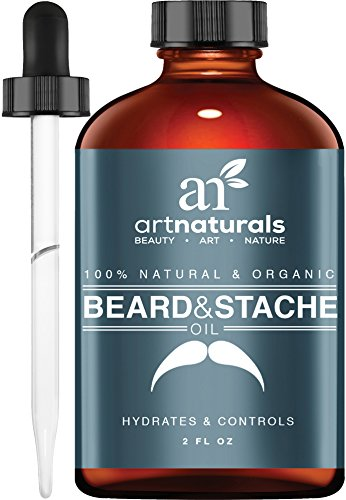 Art Naturals Organic Beard Oil & Leave-In Conditioner 2 oz- 100% Pure & Natural Unscented - Best for Groomed Beard Growth, Mustache, Face and Skin Softens Your Beard and Stops Itching & Treats Acne (Organic Growth compare prices)