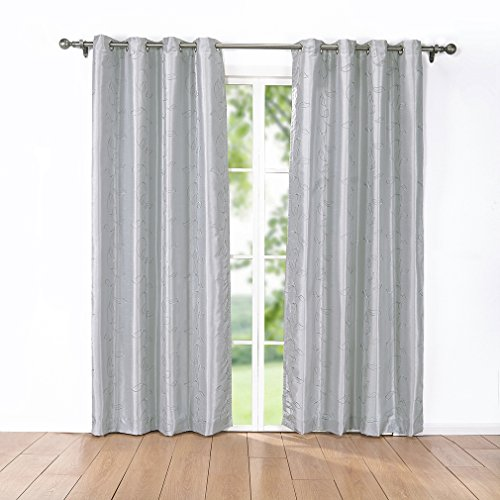 Puredown embroidered faux silk window curtains drape