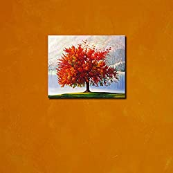999Store wooden framed red leaves tree printed poster like painting (35x35 cm)