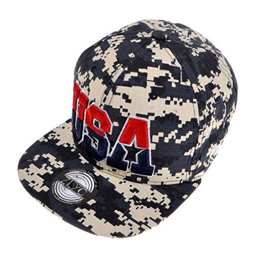 Zlyc Women 2014 Us Flag Design 4Th Of July Flatbill Adjust Casual Baseball Hat (Camo)