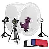 """Neewer® Kit estudio Fotografía caja de luz, kit incluye: (1) 16x16 """"/ 40x40cm Caja de Luz plegable + (4) Fondos de color Internos (Negro + Blanco + Rojo + Azul) + (2) 18"""" / 45cm Top soporte de luz + (2) Cabezal de luz con reflector + (2) 220V 45W Day-Light Bombillas de estudio+ (1) Ajustable trípode de cámara de 50 """"/ 127cm"""