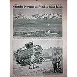Impresión Antigua de 1918 Tractores de Piave Oruga de las Montañas de Ww1 Montello