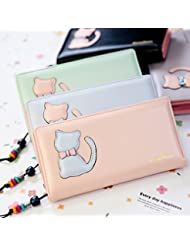 Premium Quality (Cat With BowKnot) Womens Women's Wallet Clutch Hand Purse For Women's Girls Ladies Long Wallet...
