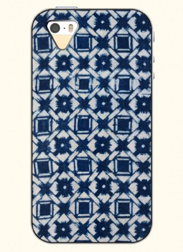 Oofit Phone Case Design With Retro Navy Blue Grid For Apple Iphone 4 4S 4G