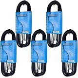 MCS 5 Pack 10 Ft Foot Male to Female 3 Pin XLR Mic Cord Microphone Audio Cable