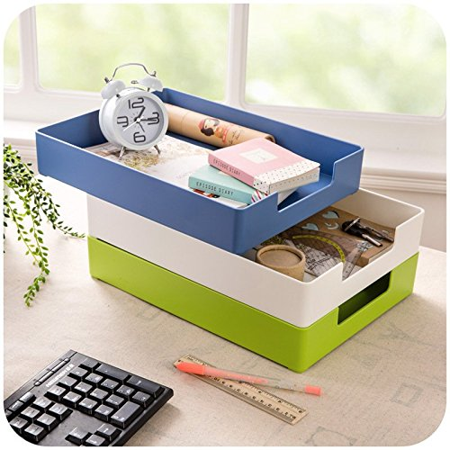 Chris-Wang 1Pcs Stacking Hard Plastic Desktop Collection Front-Load File Letter Tray Home Sundries Organizer Bin Holder, A4 / Letter Size (White) (Front Loading Storage Bins compare prices)