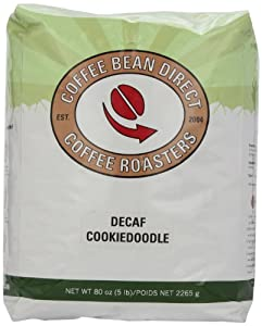 Coffee Bean Direct Decaf Cookiedoodle Flavored, Whole Bean Coffee, 5-Pound Bag