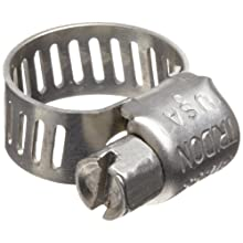 "Precision Brand M4HSPX 316 Stainless Steel Micro Worm Gear Hose Clamp, 7/32"" - 5/8"" (Pack of 10)"