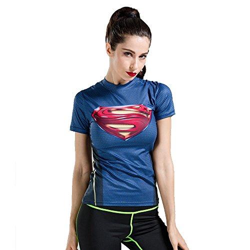 wct19taglio slim Donna Compressione Shirt Top Aderente Maniche Corte per Fitness, Outdoor, Yoga sexy moda costume Blue Medium