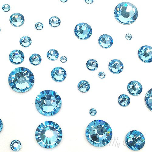 AQUAMARINE (202) lake blue 144 pcs Swarovski 2058/2088 Crystal Flatbacks lake blue rhinestones nail art mixed with Sizes ss5, ss7, ss9, ss12, ss16, ss20, ss30 **FREE Shipping from Mychobos (Crystal-Wholesale)** (Mixed Size Flatback Rhinestones compare prices)