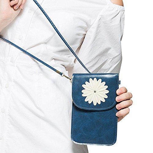 Contever® Retro Crisantemo Modello Cellulare Marsupio / Case / Custodia con lo Schermo di Tocco per Telefono 6 Pollici o Meno PU Pelle Donna Borse a Spalla / Borsello in Borsa (Blu)