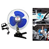 Jhua 12V 8 inch Car Oscillating Fan Automobile Car Fan Vehicle Cooling Fan With Clip Cigarette Lighter Plug Black