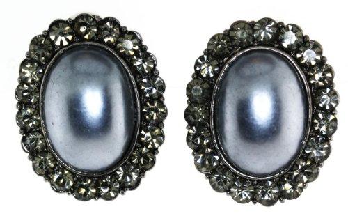 Clear Austrian Crystal White Oval Faux Pearl-Framed Clip-On Earrings - Gray