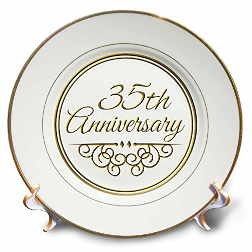 3dRose cp_154477_1 35Th Anniversary Gift Gold Text for Celebrating Wedding Anniversaries 35 Years Married Together Porcelain Plate, 8-Inch