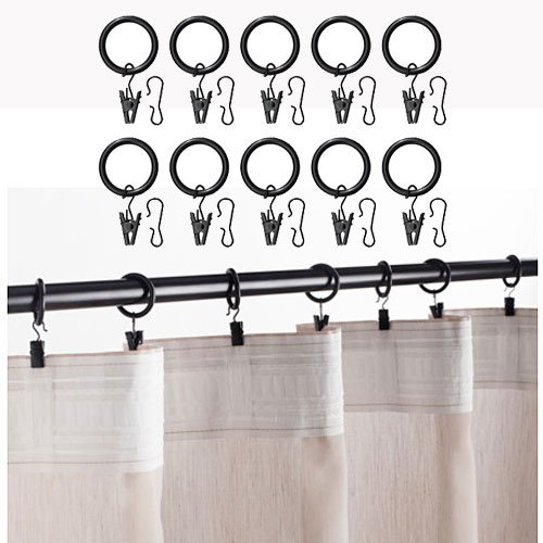 Set of 10 Premium Curtain Rings with Clips Black 1.5 Inch Diameter fundamentals of physics extended 9th edition international student version with wileyplus set