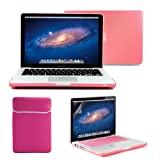 GMYLE(R) 4 in 1 Pink Rubberized (Rubber Coated) Hard Case Cover for 13.3' inches Macbook Pro - with Pink Soft Sleeve Bag and Silicon Keyboard Protector - 13 inches Clear LCD Screen Protector -