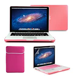 GMYLE(R) 4 in 1 Pink Rubberized (Rubber Coated) Hard Case Cover for 13.3 inches Macbook Pro - with Pink Soft Sleeve Bag and Silicon Keyboard Protector - 13 inches Clear LCD Screen Protector -