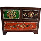 Wooden Hand Made Hand Painted 3 Drawer Box Size:- (Inche)4x7.5x5