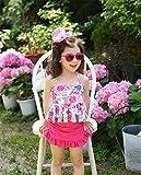 可愛い 子供用 水着 女の子 花柄 スクール セパレート 上下セット 女児 ガールズ ビキニ キャップ付き 海水浴  スイミング ベビー フリル スカート (90, ピンク+花柄)
