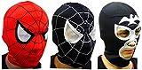 worldmalljp スパイダーマン マスク コスチューム スパイダーマンマスク フリーサイズ (スパイダーマンのマスクの赤、黒と、 悪役 ショッカー マスクの黒  全3点 セット)