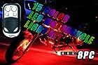 8PC 15 COLOR RGB LED MOTORCYCLE LIGHT KIT REMOTE CONTROL 6 LEDS PER STRIP MILLION COLORS