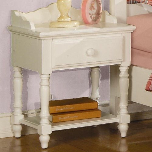 Pepper cottage crisp white wood kids night stand with for White wood nightstand