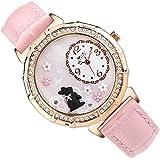 mini 黒うさぎ ハンドクラフトデコウォッチ 本革ベルト 女性に人気の可愛い腕時計 ピンク MN2018-PI