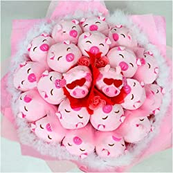 Forever Love Flower Bouquet of Dolls, 21 Cool Pigs