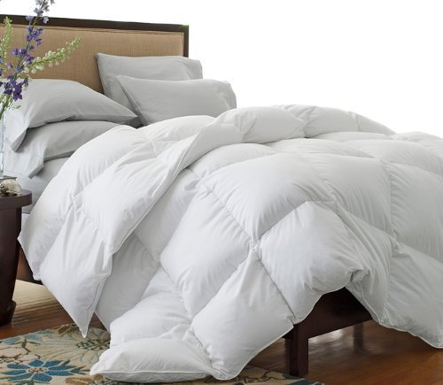 Luxurious King Size, 1200 Thread Count Goose Down Alternative Comforter Solid White, 100% Egyptian Cotton, 750Fp, 50Oz