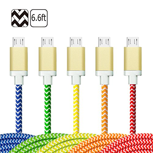 USB Cables, Magic-T Braided 6.6Feet/2Meter Extra Long Data Sync Charging Charger Cord with Aluminum Shell Connectors for Android Samsung Galaxy S6,HTC, Tablet, Kindle and More Devices[5-Pack]