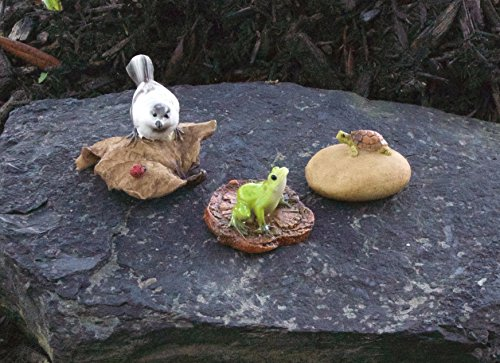 Bundle of 3 Miniature Fairy Garden Accessories - Turtle on a Stone, Frog on a Wood Chip, and Chickadee on a Leaf