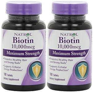 Biotin (10,000mcg) Maximum Strength (100ct Max-Strength x 2)