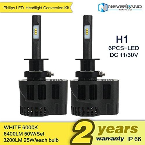 Noviame(TM) 2pcs H1 50W 6400LM Car Headlight Kit Fog lamps 6000k LED Bulb DRL All In One White D30 (H1 Led Headlight Bulbs 50w compare prices)