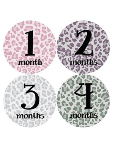 Months in Motion 042 Monthly Baby Animal Print Stickers Baby Girl Month 1-12
