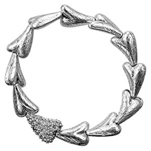 Pilgrim Funky Heart Bracelet with One Crystal Encrusted Heart (Silver Plated)....Strectchable.... Diameter: 4cm