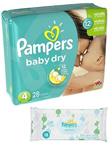 Pampers Baby Dry Size 4 Disposable Diapers - 28 count (3 Layers of Protection) + Sensitive Wipes Travel Pack 18 ct