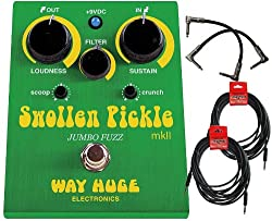 """Way Huge Swollen Pickle MKII Guitar Effects Pedal w/(2) 6"""" patch cables (2) 18.6' cables"""