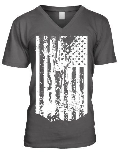 One Color Usa American Flag Splatter Men'S V-Neck T-Shirt (Char, Medium)