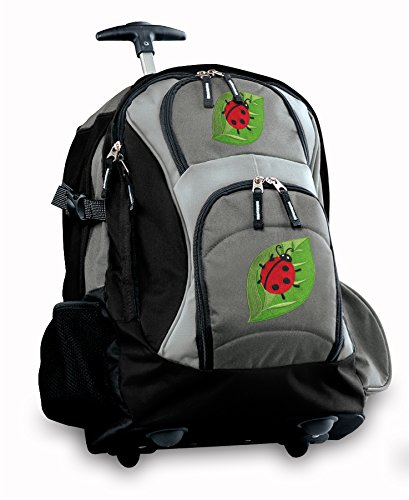 Cute Ladybugs Rolling Backpack Deluxe Gray Best Backpacks Bags With Wheels Or