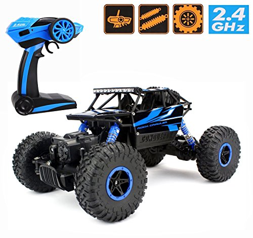 2.4Ghz 1/18 RC Rock Crawler Vehicle Buggy Car 4 WD Shaft Drive High Speed Remote Control Monster Off Road Truck RTR(Blue) (Rc Monster Truck With Camera compare prices)