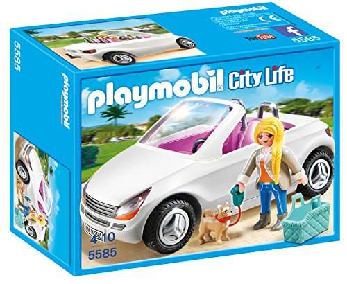 PLAYMOBIL Convertible with Woman & Puppy Play Set - 1