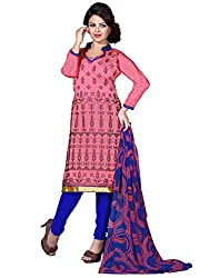 Yehii Women's Chanderi Pink Plain / Solid dress material Unstitched Salwar Kameez Dupatta for women party wear low price Below Sale Offer