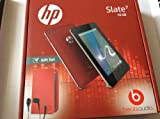 HP slate 7 16GB with red folio case and in-ear headphones.