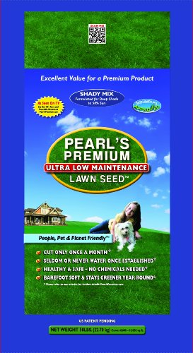 Pearl's Premium Ultra Low Maintenance Lawn Seed, 50-Pound, Shady Blend