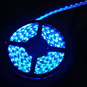  Hitlights 300 LEDs Waterproof Blue Color Flexible Ribbon LED Strip, 16.4 Ft or 5 Meters, 3528SMD Type, 12 Volt, 24 Watt