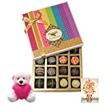 Signature Collection Of Truffles Gift Box With Birthday Card And Teddy - Chocholik Belgium Chocolates