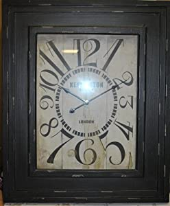 Large Vintage Style Black Distressed Wall Clock 1870