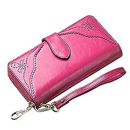 BesToo Women\'s Genuine Leather Clutch Wallet Zippered Fashion Cutout Flower Handbag Large Wrist Strap Purse Money Clips (Rose)